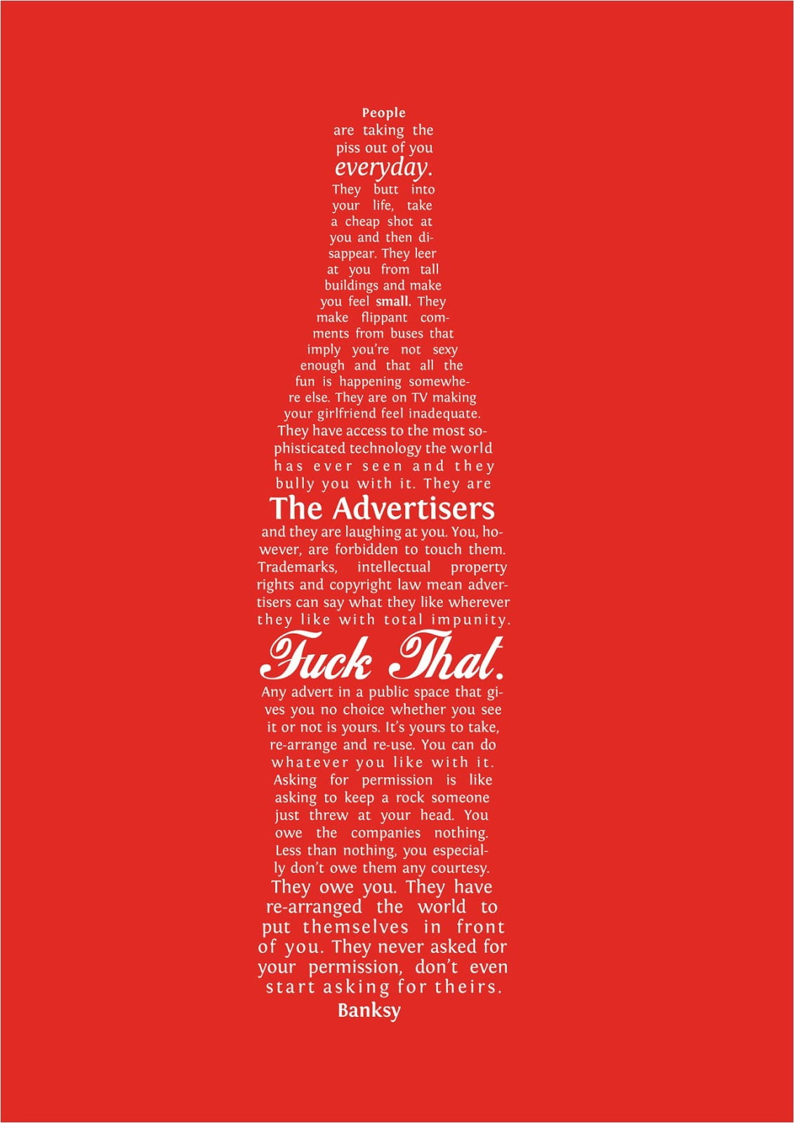 bansky bottle The Banksy Manifesto