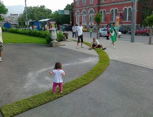 One kilometer grass path placed in Sofia, Bulgaria to promote Aroma products.