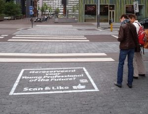Milk Paint used for student campaign in Amsterdam.