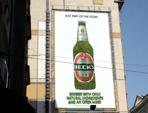 Billboard made of moss for Becks Beer.
